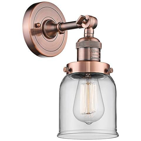 """Small Bell 10"""" High Antique Copper Adjustable Wall Sconce - #40W74 