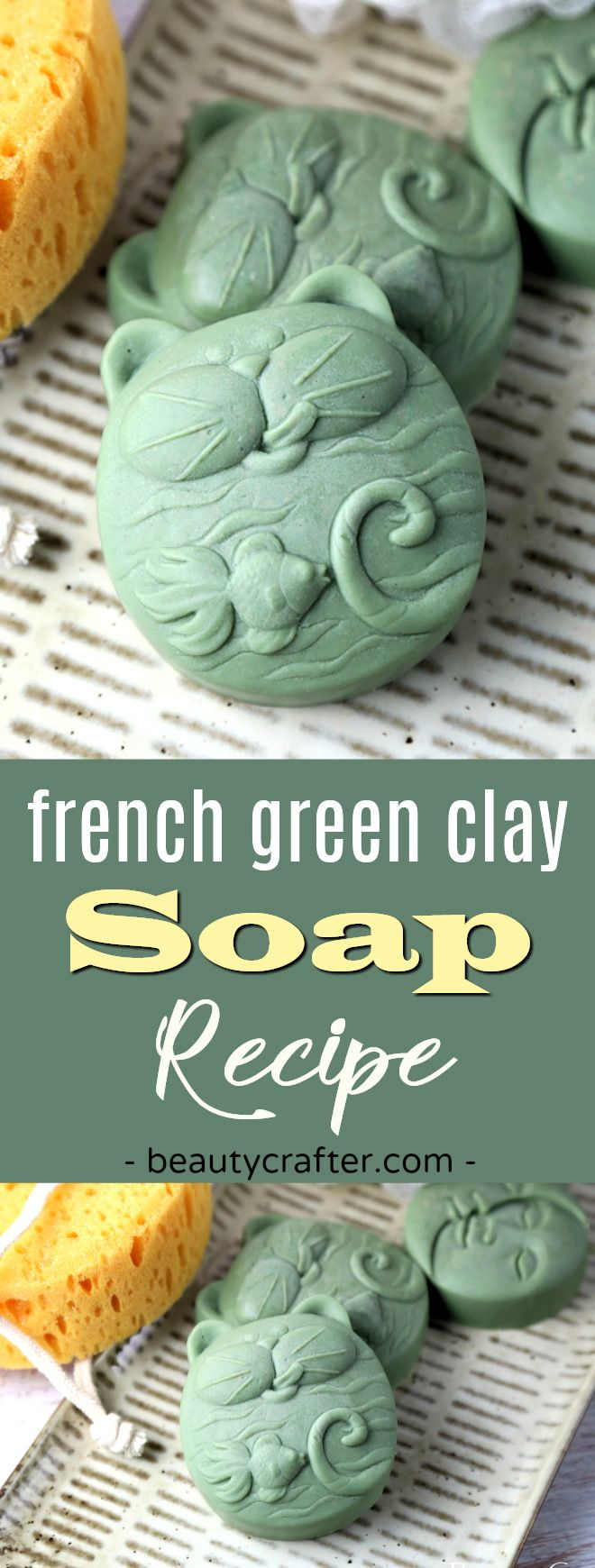 French Green clay soap recipe - Sea clay DIY soap is detoxifying and healing. Great for eczema. Made in a fun cat soap mold. #soap #soapmaking #cats #skincare #catlady #crafts  via @beautycrafts