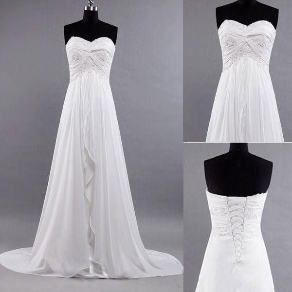 Charming Simple Beach Wedding Dresses Ruffles Sweep Train Strapless A Line Backless Chiffon Bridal Gowns Wedding Gown Online Affordable Wedding Gowns From Dresses000, $148.75| Dhgate.Com