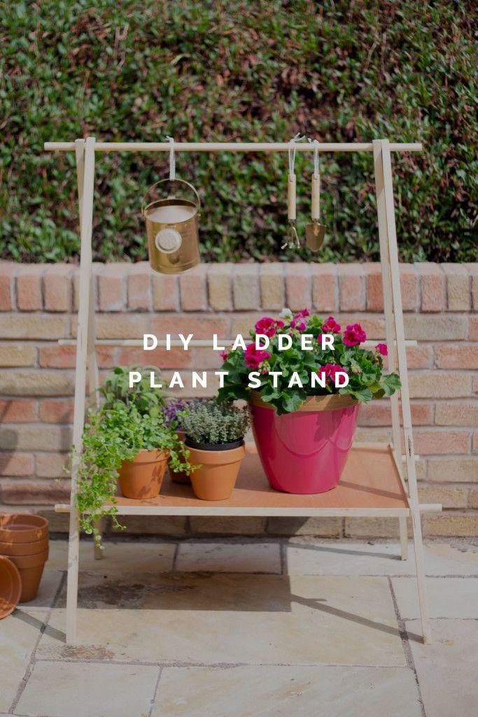 DIY Ladder Plant Shelf tutorial for a Small Garden or Balcony | @fallfordiy