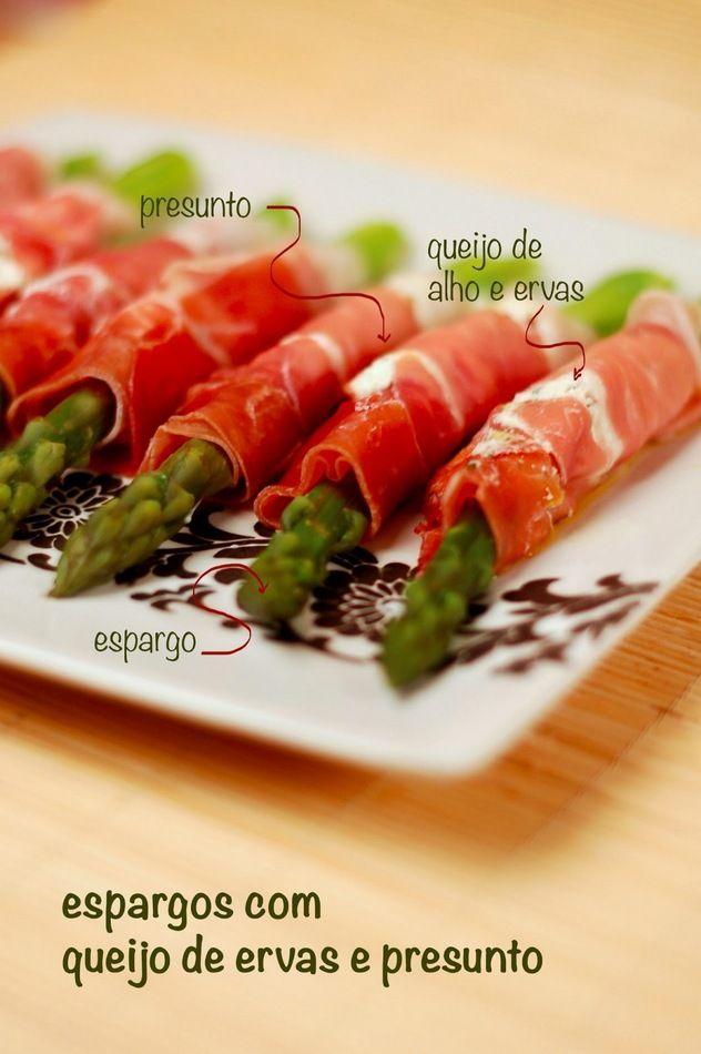 Espargos com presunto e queijo de ervas (com v�deo) - DeBorla