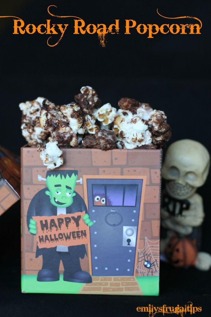 This rocky road popcorn treat is great for a Halloween party or trunk or treat event. It's easy to make, and all ingredients are found at The Dollar Tree!