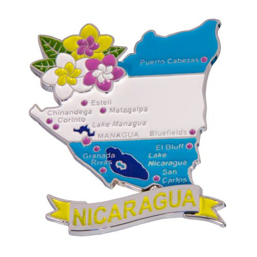 Metal Fridge Magnet: Nicaragua. LIMITED EDITION: Map of Nicaragua (Chrome Plating and Enamel)