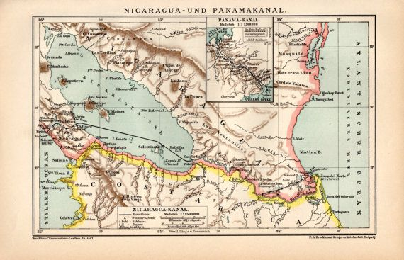 1898 Panama Canal Antique Map Vintage Lithograph by Craftissimo