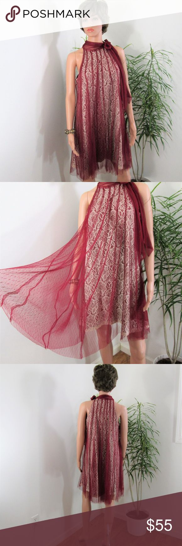 """New❣Lace & Tulle Swing Dress Stunning A-line, cream lace with pleated burgundy tulle overlay. Burgundy lining. Ties at neck side, popover.  Measured flat. 18"""" pit to pit. 33"""" long - Lace, 36"""" long- Tulle. On 5' 9'' model.  Cocktails Party Wedding Night Out Date Night  Special Occasion Valentines Tent Dress. Boutique item- brand is Ryu. Boutique Dresses Mini"""