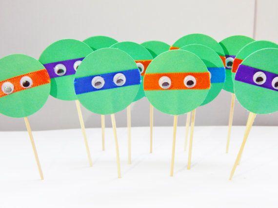 Teenage Mutant Ninja Turtle Cupcake Toppers TMNT Birthday