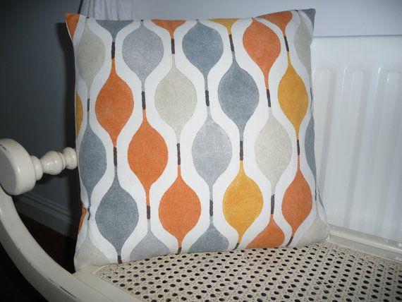 Retro Cushion Cover Orange Grey Stone Zest  by FrancishouseDesign, £15.00