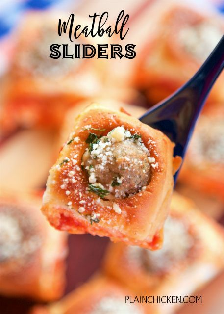 Meatball Sliders - SO good!! Perfect for parties and watching football!! Hawaiian rolls stuffed with cream cheese, Italian seasoning, mozzarella cheese, marinara sauce, frozen meatballs and topped with melted butter and Parmesan cheese. Ready in under 30 minutes! Great for a quick lunch or dinner too! There are never any left when I take these to a potluck!