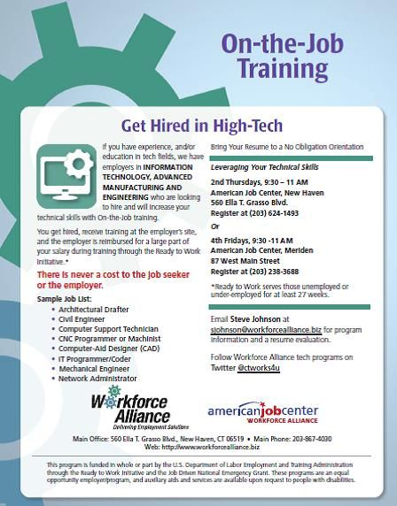 Those with education or experience in Advanced Manufacturing, Engineering or Information Technology can get hired by employers willing to upgrade your skills ON THE JOB