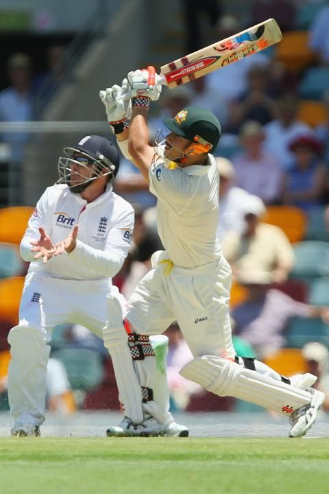 BRISBANE, AUSTRALIA - NOVEMBER 21: David Warner of Australia hits a six during day one of the First Ashes Test match between Australia and England at The Gabba on November 21, 2013 in Brisbane, Australia. (Photo by Chris Hyde/Getty Images)