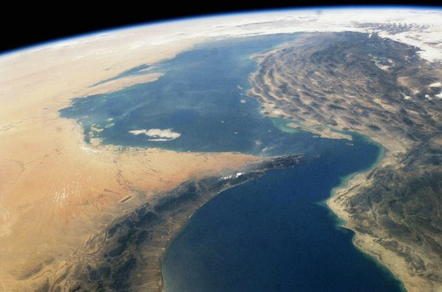 Strait of Hormuz, the Most Important Middle Eastern Chokepoint: A satellite view of the Strait of Hormuz