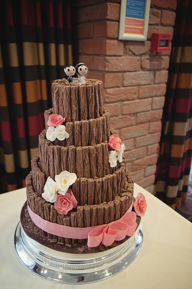 Chocolate lovers wedding cake !  Five tiers of  chocolate cakes decorated with chocolate flakes ! https://www.facebook.com/thestablespantry?ref=hl