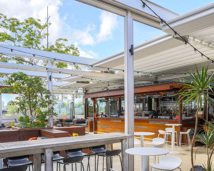 Regatta Hotel (Toowong. Brisbane) - Installation of Mediterranea retractable fabric roofs by Vanguard Blinds