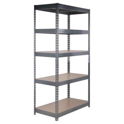 Estante 100x50x192 cm metal gris 5 repisas estanteria en - Estanterias para garaje ...