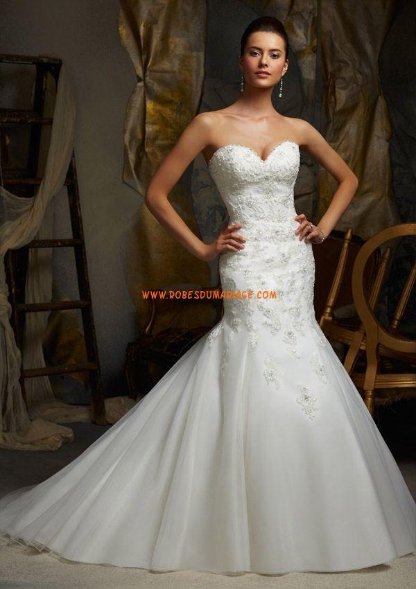 Sirène Organza Robe de mariée col en coeur application sans bretelles