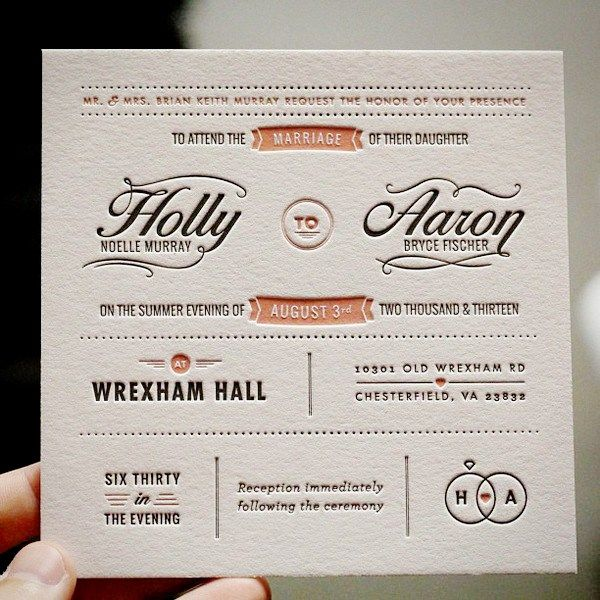 typography wedding invite really cool, too funny this is my daughter and her husband first names.