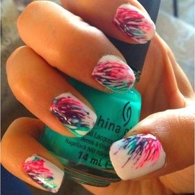Directions:  1. White Base Color  2. Place small dots of colored polish in corner of nail.  3. Spread colored polish dots outward with a toothpick.  4. Apply topcoat.  5. Voila!: White Based, Based Colors, Nails Art, Summer Nails, Splatter Nails, Small Dots, Places Small, Spreads Colors, Colors Polish