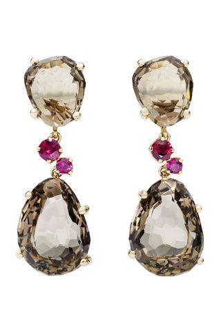 fumé quartz & ruby Pomellato earrings