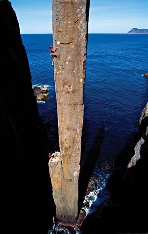 Climbing the Totem Pole, Tasmania, Australia