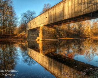 Items similar to Cabin Run Covered Bridge Landscape Photography Bucks County Pennsylvania Color Photograph Summer River ReflectionTrees Red Green Art Print on Etsy