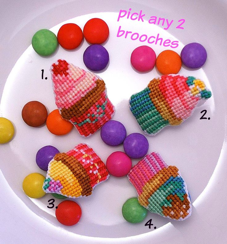 Pick any 2 cupcake cross stitch brooches. Offer. Party favor Retro pins. Hand embroidered Food jewelry. for her. Bridesmaid gift. (2pcs) by MeandMamaCreations on Etsy
