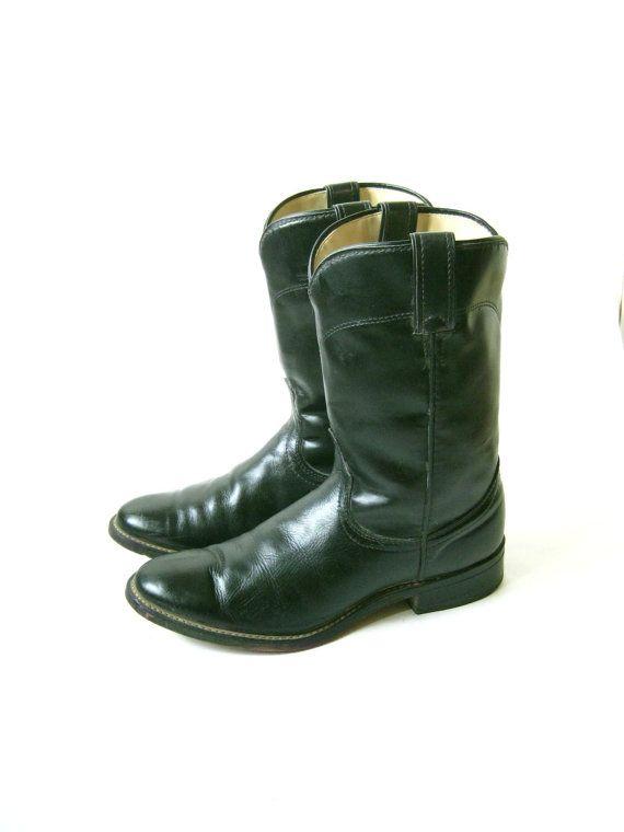 Stivali da Cowboy di pelle nera vintage Roper.