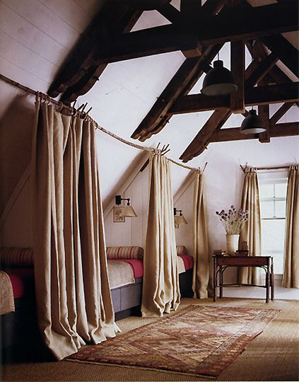 use long, sturdy tree branches and burlap to create private sleeping quarters in attic or kid's room