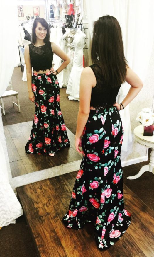5e1a76b9c57de Beautiful Sleeveless Prom Dress, Two-Piece Prom Dress, Floral Print ...