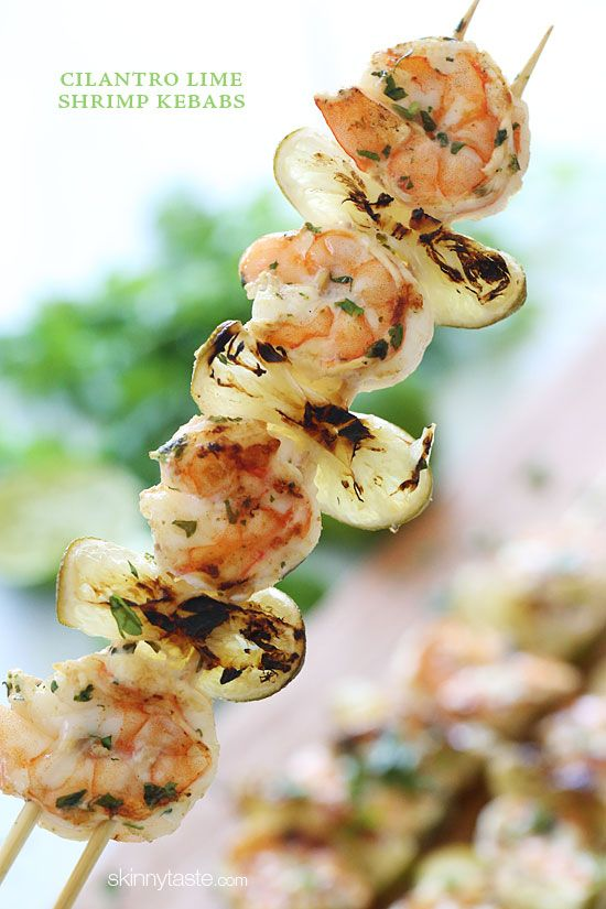 "Grilled Cilantro Lime Shrimp Kebabs – Grilled Cilantro Lime Shrimp Kebabs –  naturally ""skinny"" perfect as an appetizer or serve them for dinner! #weightwatchers #glutenfree #paleo #lowcarb #summer"