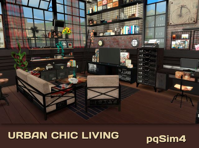 Urban chic living by mary jim nez at pqsims4 via sims 4 for Muebles sims 3
