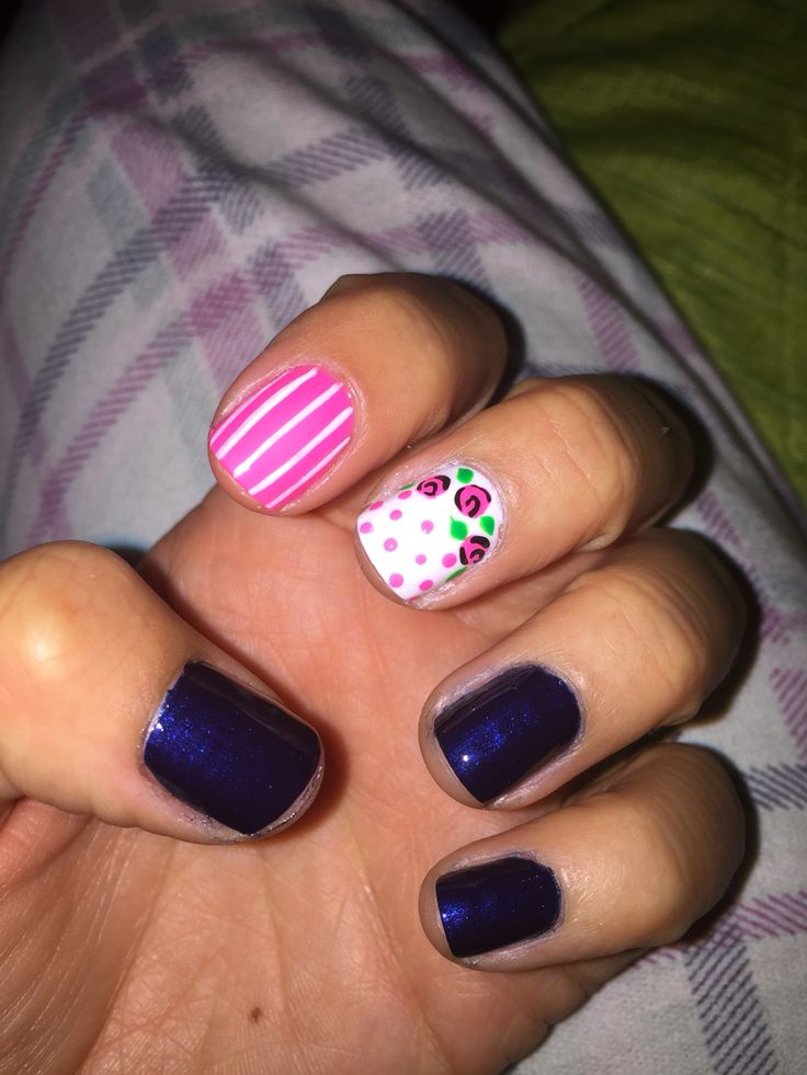 #nails #pink #blue
