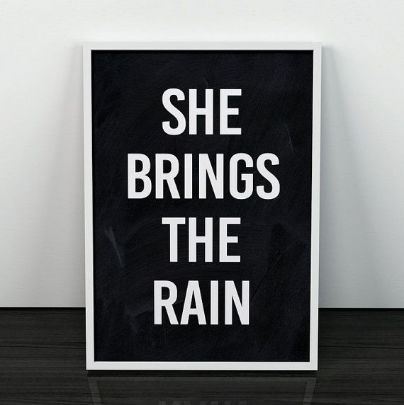 Quote print She brings the rain print by ShopTempsModernes on Etsy Quote print, She brings the rain print, Typography print, Quote art, Black and white art, Motivational art, Typography posters, Home decor
