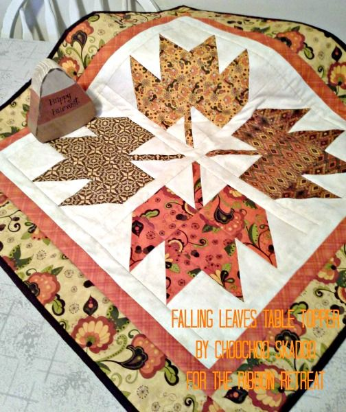Falling Leaves Table Topper - Perfect fabric choices.  This is super cute and would be easy to make.