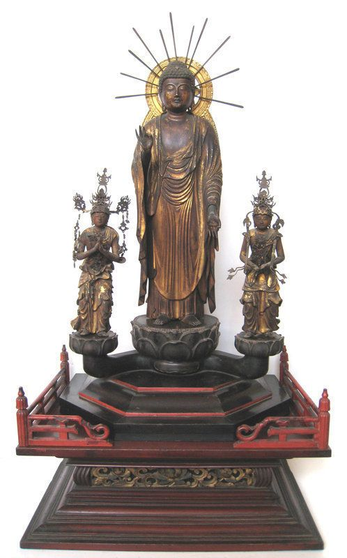 Japanese Amida Buddha Triad Statue✖️No Pin Limits✖️More Pins Like This One At FOSTERGINGER @ Pinterest✖️