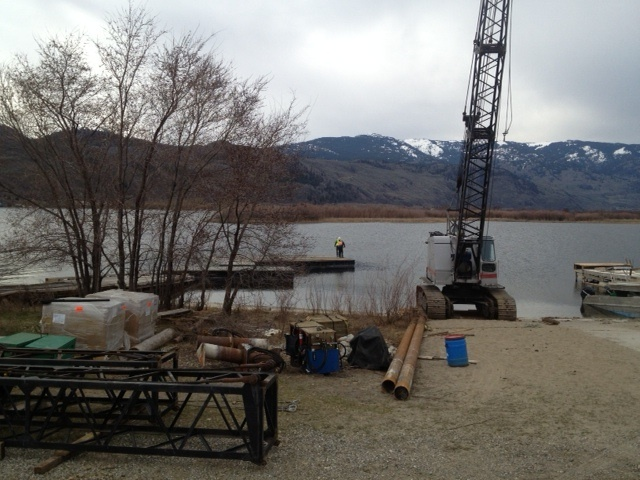 Burton Marine Pile Driving ready to install their floating concrete  marina at The Cottages in Osoyoos, BC.