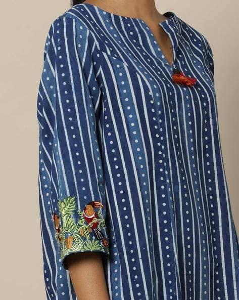 7596e8c43e7b52 Buy Indigo Kurtas for Women by Indie Picks Essentials Online   Ajio.com