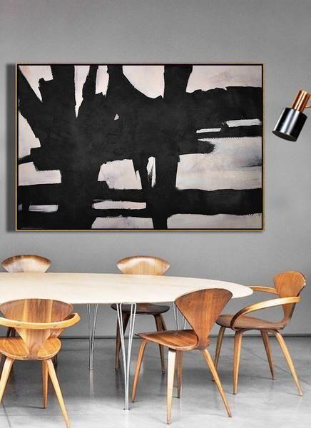 CZ Art Design Horizontal Minimal Minimalist Painting On Canvas Black White