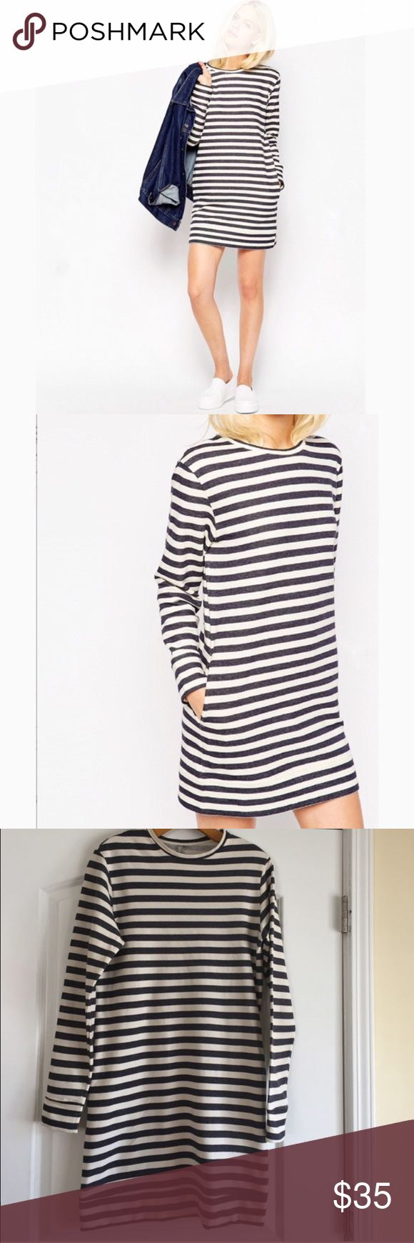 """ASOS Striped Long Sleeve Dress with Pockets Blue and white long sleeve striped dress. Lined with fleece so very warm and comfy. Shift dress cut. Two side pockets Length is 36 1/2"""" Bust is 38"""" Size is a U.S. 2 Brand New still in package. ASOS Dresses Long Sleeve"""