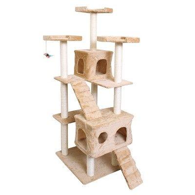 Oxgord Paws & Pals Cat Scratch Tree Condo Furniture 72 - Beige