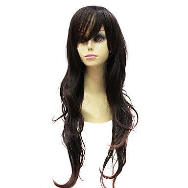Capless Japanese Kanekalon Dark Brown Long Curly Wig For Women