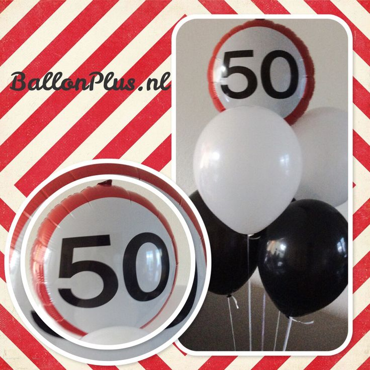 Helium ballon boeket verkeersbord 50 van BallonPlus.nl