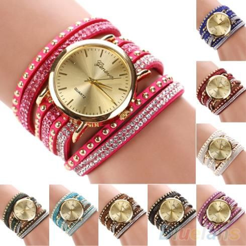 Check this product! Only on our shops   Women's Geneva Faux Suede Rivets Rhinestone Multi-Layer Wrap Bracelet Analog Wrist Watch - US $2.95 http://healthystoreweb.com/products/womens-geneva-faux-suede-rivets-rhinestone-multi-layer-wrap-bracelet-analog-wrist-watch-3/