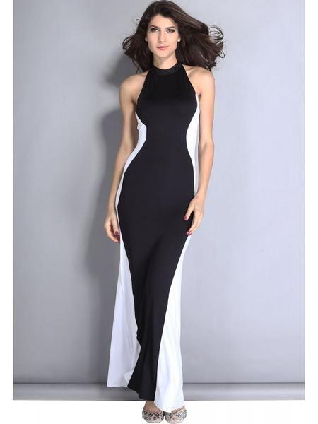 LadyIndia.com # Wedding Dress, New Fashion Designer Black White Swerve Halter Maxi Evening Dress Designer Gown, Western Dresses, Party Wear Dress, Maxi Dress, Wedding Dress, Party Gown, https://ladyindia.com/collections/western-wear/products/new-fashion-designer-black-white-swerve-halter-maxi-evening-dress