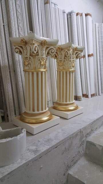 Coppia di colonne panna e oro foglia  5