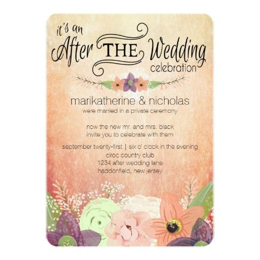 Watercolor Flowers After Wedding Party Invitations