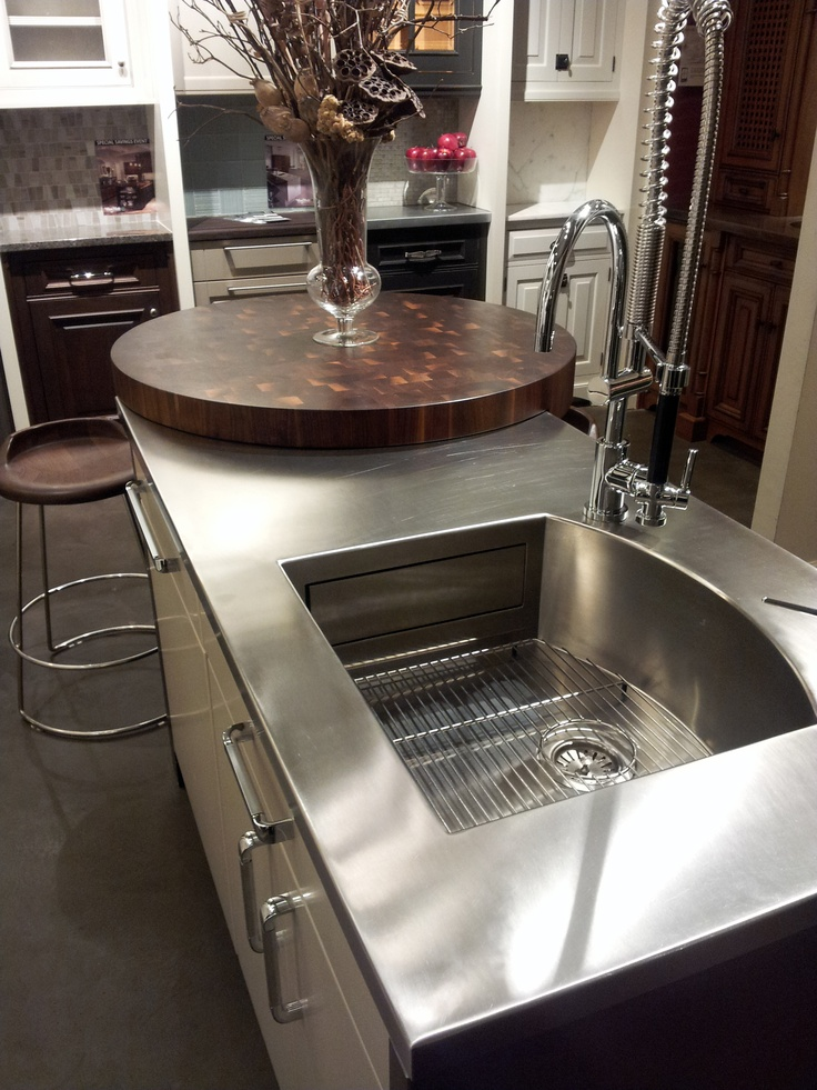 75 best images about countertops on pinterest wide plank for Stainless steel countertop with built in sink