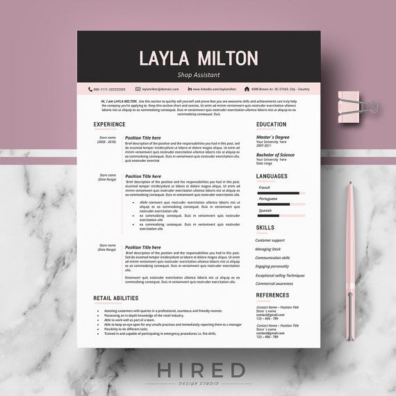 Modern Resume Template For Word: Layla   100% Editable.   Instant Digital  Download  Modern Resume Formats