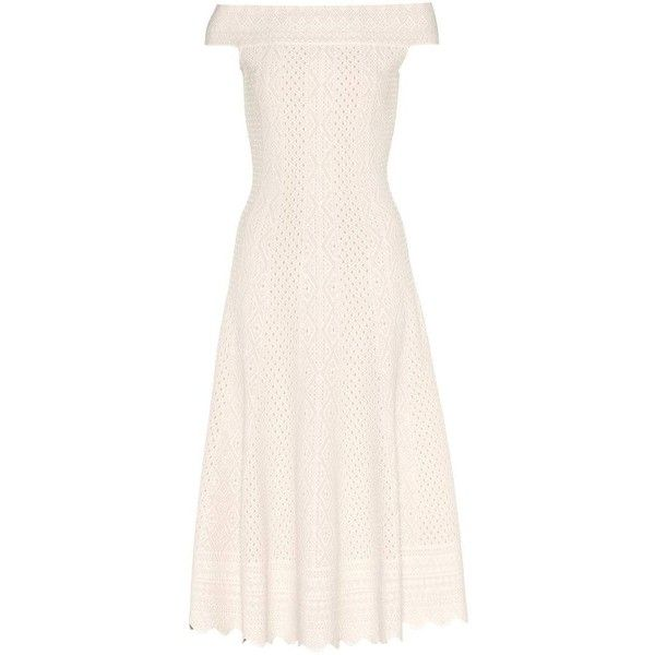 Alexander McQueen Off-the-Shoulder Dress ($1,900) ❤ liked on Polyvore featuring dresses, white, white dress, white day dress, white off shoulder dress, off the shoulder dress and white off the shoulder dress