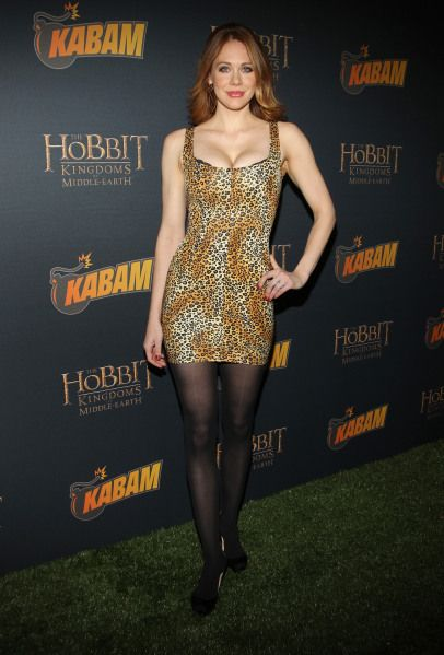 "Who wore it best? The votes are in …. Maitland Ward in a Mark Wong Nark animal print Couture Bodycon Dress did at The Hobbit: The Desolation of Smaug"" Mobile Game Launch Party at Eveleigh in West Hollywood. Get this dresses at EyeCandyCouture.com $625.00"