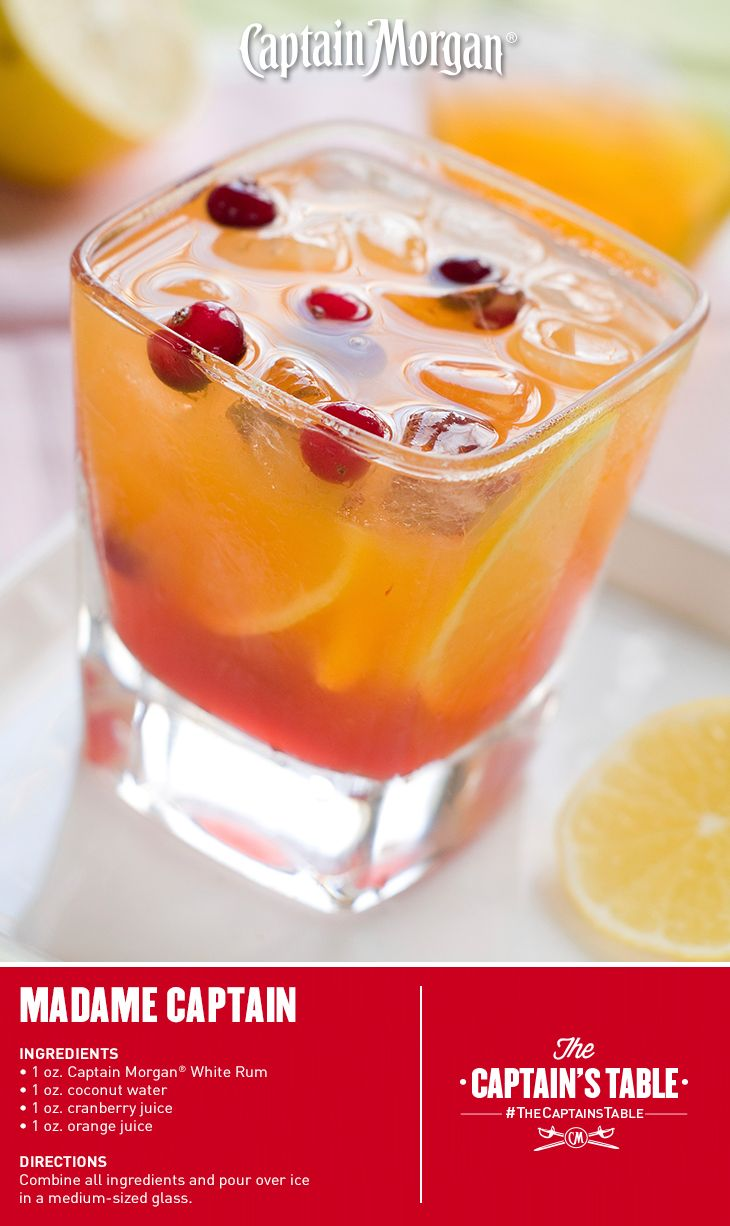 16 best captain morgan white rum images on pinterest for Best alcohol to mix with cranberry juice